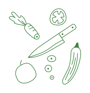 Illustration of knife with chopped vegetables