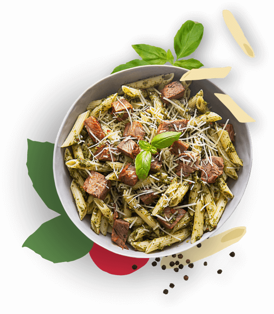 Brisket pasta bowl with parmesan cheese