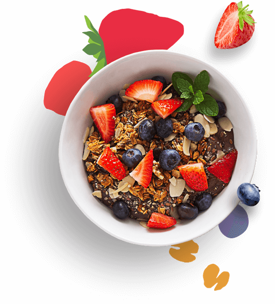Granola bowl with almonds and mixed berries