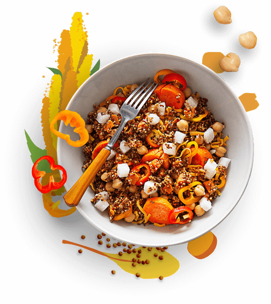 Latin quinoa bowl with red and orange peppers, jicama, carrots, and chickpeas